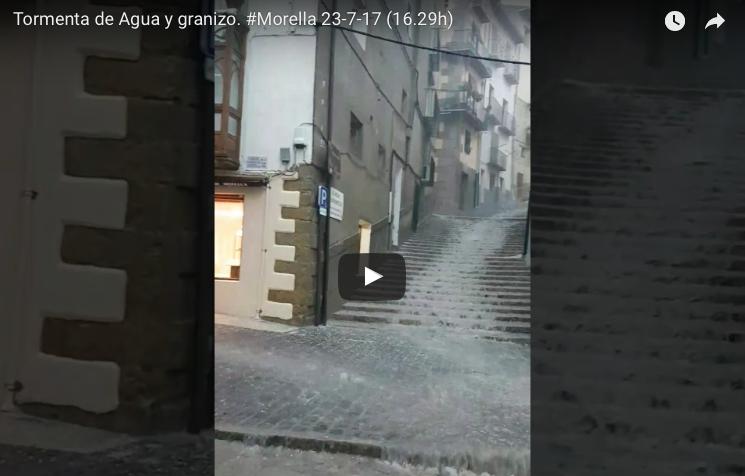 Impresionante tormenta de agua y granizo en Morella