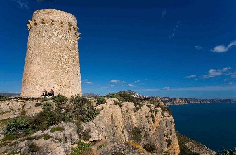 A vista de Dron conocemos la Torre Vigia Cap d'Or, Moraira en Alicante