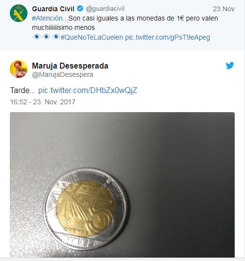 La Guardia Civil advierte del timo de la moneda de 1 euro que está circulando