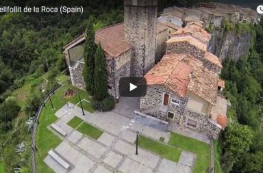 Castellfollit de la Roca en Gerona, a vista de drone